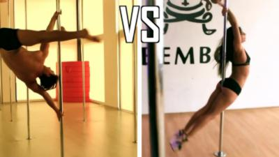 Femme VS Homme dans une battle de Pole Dance