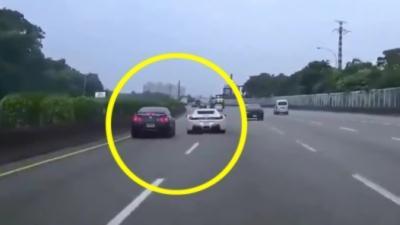 Un idiot en Ferrari cause le crash d'une Nissan GTR lors d'une course sauvage