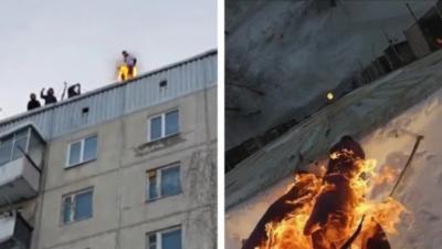 Un Russe s'enflamme et saute du 8ème étage d'un immeuble