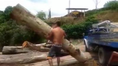 Le seul homme au monde qui arrive à soulever un énorme tronc d'arbre à bout de bras