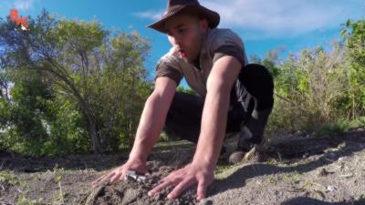 Coyote Peterson plonge ses mains dans un nid de fourmis de feu