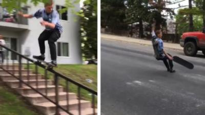 Un skateur manque de peu de se faire écraser par une voiture