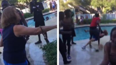 Une vieille dame qui vient se plaindre du bruit se fait violemment jeter dans la piscine
