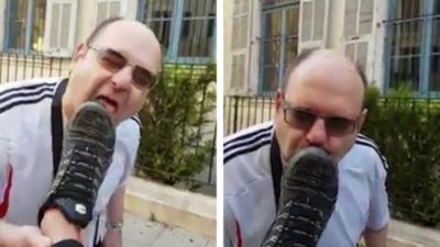 Il croise un homme dans la rue qui lui demande s'il peut lécher ses chaussures