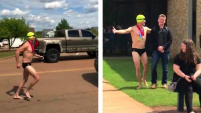 Un père met la honte à son fils en venant le chercher au collège en slip de bain