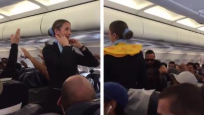 Les supporteurs du PSG malmènent une hôtesse de l'air pendant qu'elle montre les gestes de sécurité