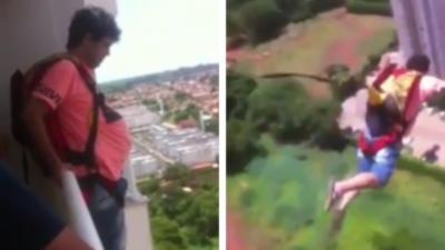 Il achète un parachute sur internet et le teste en sautant depuis son balcon