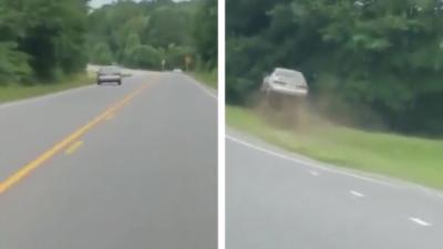 Il suit en voiture un conducteur ivre qui finit par faire une sortie de route spectaculaire
