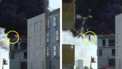 Un grutier sauve la vie d'un ouvrier bloqué dans un incendie au sommet d'un immeuble