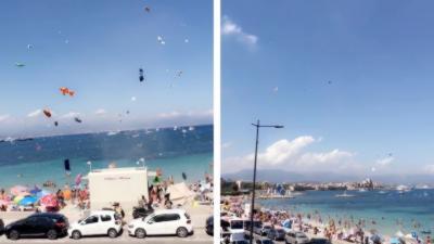 Une mini tornade sur une plage d'Antibes soulève des parasols et des bouées dans les airs