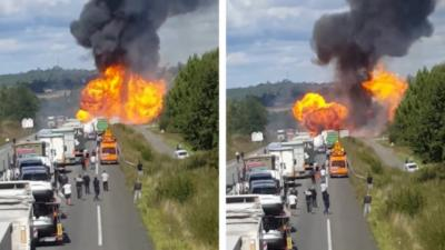 Un camion qui transporte des bouteilles de gaz explose sur la RN10 en Charente-Maritime