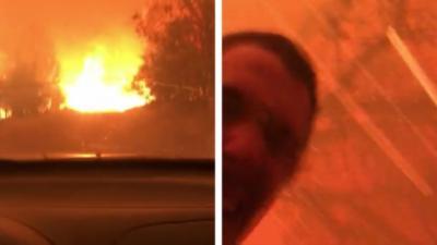 Deux hommes partent au dernier moment de l'incendie qui touche la Californie