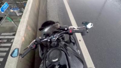 Un motard stoppe la circulation pour sauver un chaton apeuré