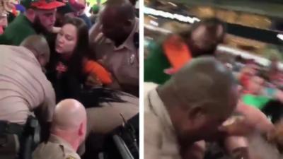 Une femme ivre met une claque à un policier et se fait calmer rapidement