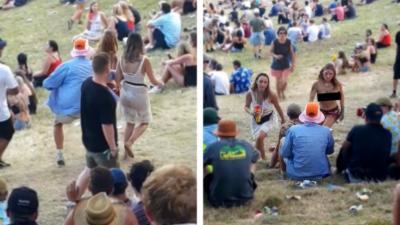 Une festivalière seins nus se venge d'un homme qui lui touche les seins