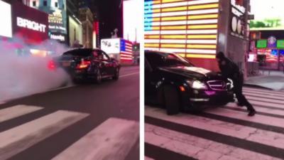 Une Mercedes AMG tape un gros burn avant de renverser un policier qui voulait l'arrêter