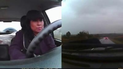 Une femme qui reste super zen pendant un accident de voiture