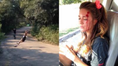 Violent faceplant sans casque d'une fille en longboard