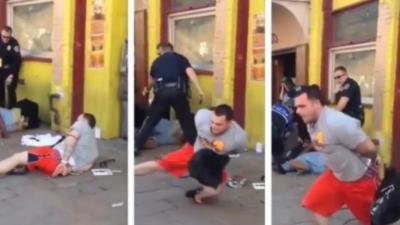 Menottes aux poignées, il s'enfuit pendant que les 5 policiers s'occupent d'un autre homme