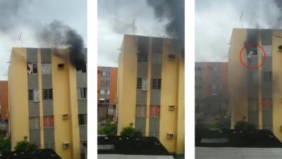 Un homme saute du dernier étage pour échapper à un incendie