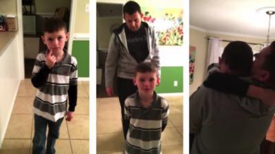 Un militaire revient chez lui et fait la surprise à son fils