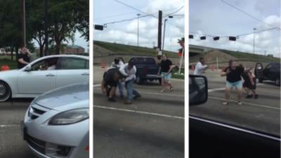 Bagarre générale pendant un Road Rage au Texas