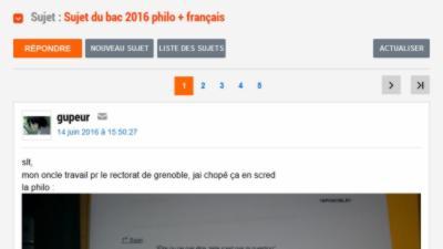 Fuite des sujets du Bac 2016 de Philosophique et de Français