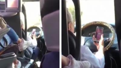 Le passager d'un bus hallucine en voyant le chauffeur faire un appel vidéo tout en conduisant