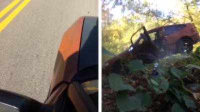 Il utilise sa voiture comme un skateboard dans une descente alors qu'il n'a plus de freins