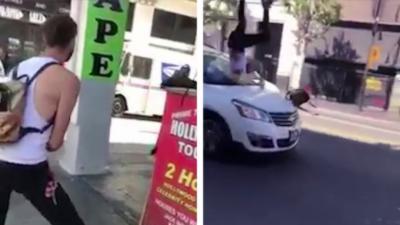 Un jeune provoque un autre homme mais ça se termine mal pour lui quand il prend la fuite
