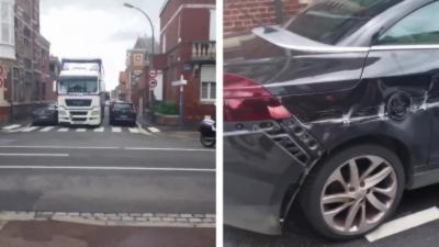 Un poids lourd rate sa man½uvre et explose une voiture en tournant