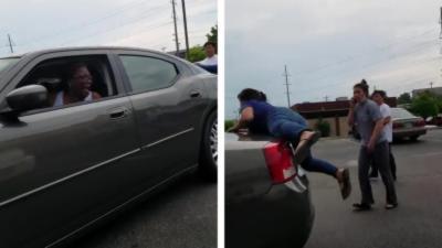 La patronne d'un salon de manucure s'accroche sur la voiture d'une cliente après une altercation