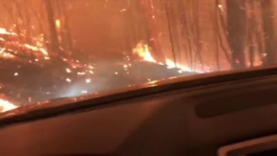 Ils traversent un énorme feu de forêt en voiture