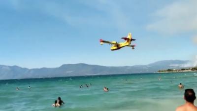 Des canadairs se remplissent d'eau sur une plage pleine de touristes
