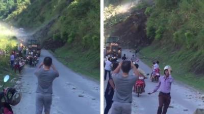 Un impressionnant glissement de terrain qui bloque totalement une route