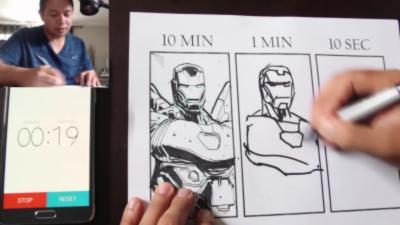 Réaliser un dessin d'Iron Man en 10 mn, 1mn et 10s