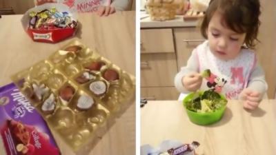 Une petite fille préfère les brocolis au chocolat