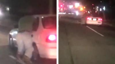 Un homme s'accroche à sa voiture alors qu'il vient de se faire carjacker