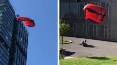 Un base jumper loupe son atterrissage, s'écrase au sol et se casse une jambe