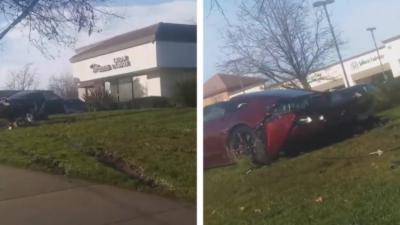 Une corvette explosée contre un arbre alors qu'il vient de la recevoir comme cadeau