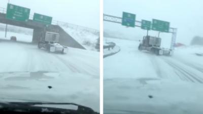 Un camion fait des gros drifts sur une route enneigée