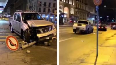 Un automobiliste ivre roule avec un panneau coincé sous son pick-up