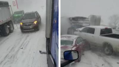 Un énorme carambolage sur une autoroute enneigée