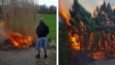 Un homme brûle son jardin par accident et ne réagit pas