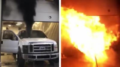 Le moteur d'une voiture explose lors d'un concours sur un dynamomètre