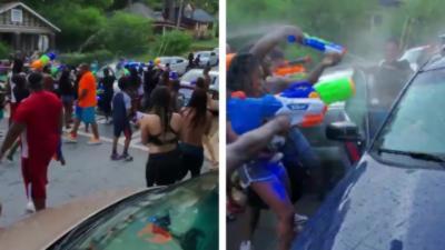Tout un quartier tend un guet-apens à une voiture de police avec... des pistolets à eau