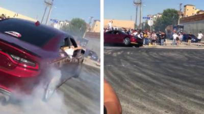 Il fait des gros donuts avec sa Dodge Charger et s'explose contre un trottoir comme un cake