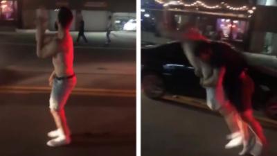 Un automobiliste plaque violemment un homme ivre qui vient de monter sur sa voiture