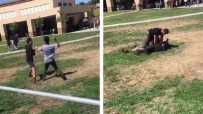 Un Marine plaque violemment deux lycéens qui se battent