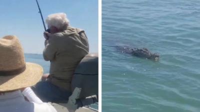 Un pêcheur pense attraper un gros poisson mais il se retrouve avec un crocodile